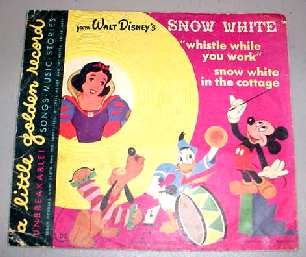 "WALT DISNEY SNOW WHITE 7"" 78 RPM RECORD PICTURE SLEEVE"