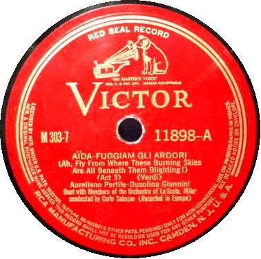 "AURELIANO PERTILE & DUSOLINA GIANNINI 12"" 78 RPM - Aida"