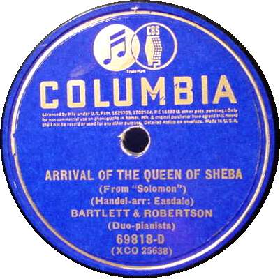 "BARTLETT & ROBERTSON 12"" 78 RPM - Duo Pianists"