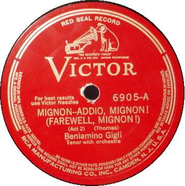 "BENIAMINO GIGLI 12"" 78 RPM - MIGNON Farewell / The Maid"