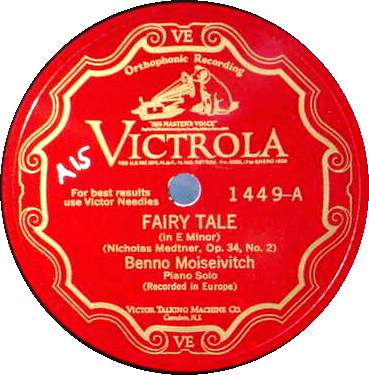 BENNO MOISEIVITCH 78 RPM - Fairy Tale / Suggestion Diabolique