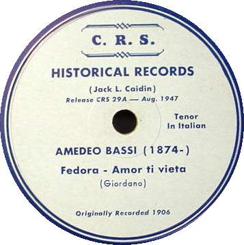 AMEDEO BASSI 78 RPM C.R.S. 29 - Giordano Songs