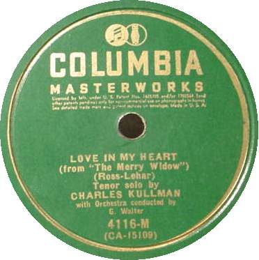 CHARLES KULLMAN 78 RPM - Love in My Heart / Serenade