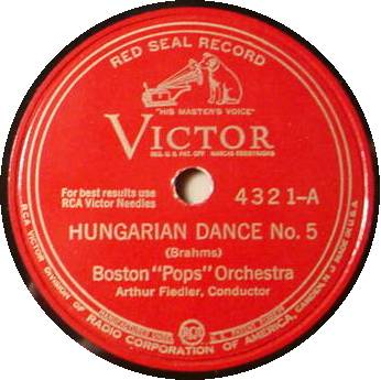 BOSTON POPS ORCH. 78 RPM - Hungarian Dance Nos. 5 & 6