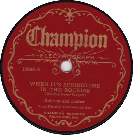 CARSON ROBISON & FRANK LUTHER 78 RPM - CHAMPION 15988 Springtime in Rockies