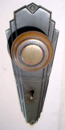 Antique Art Deco Heavy Wooden Panel Door With Windows