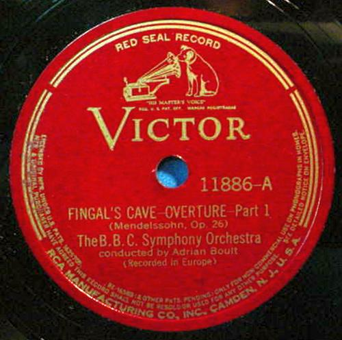 "ADRIAN BOULT BBC S.O. 12"" 78 RPM Fingal's Cave Overture - Victor 11886"