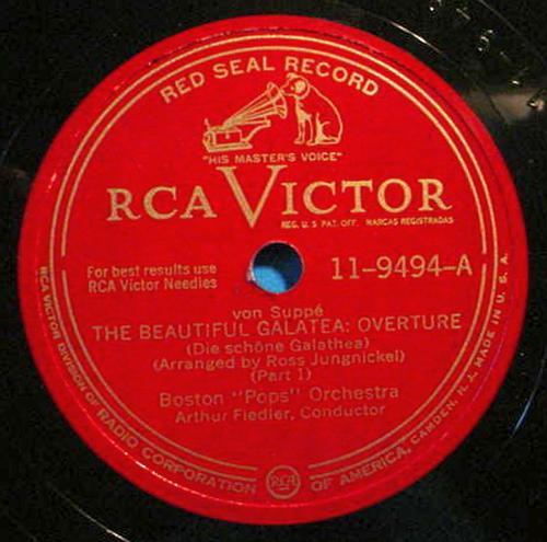 "ARTHUR FIEDLER 12"" 78 RPM Beautiful Galatea Overture - RCA Victor 11-9494"