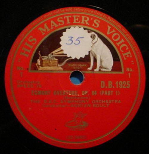 """ADRIAN BOULT 12"""" 78 RPM Egmont Overture Op. 84 - His Master's Voice D.B. 1925"""