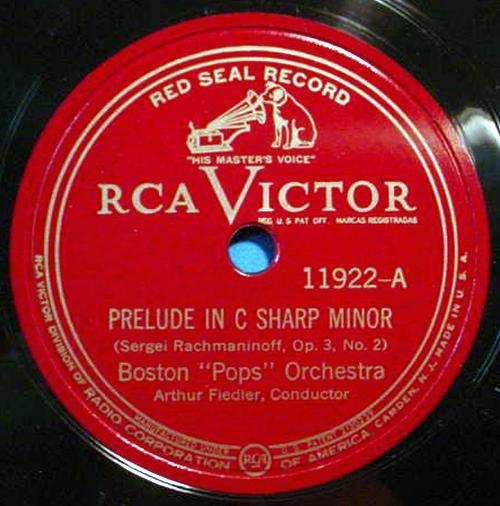 "ARTHUR FIEDLER 12"" 78 RPM Rachmaninoff Preludes - RCA Victor 11922"