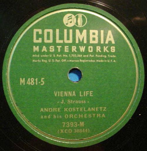 """ANDRE KOSTELANETZ 12"""" 78 RPM Vienna Life / Emperor Waltz - Columbia 7393-M"""
