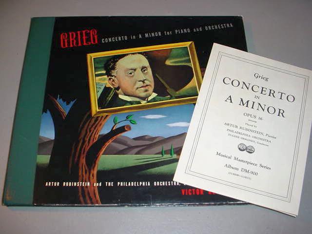 """ARTUR RUBINSTEIN (3) 12"""" 78 RPM SET Grieg Concerto in A Minor - Victor DM-900"""