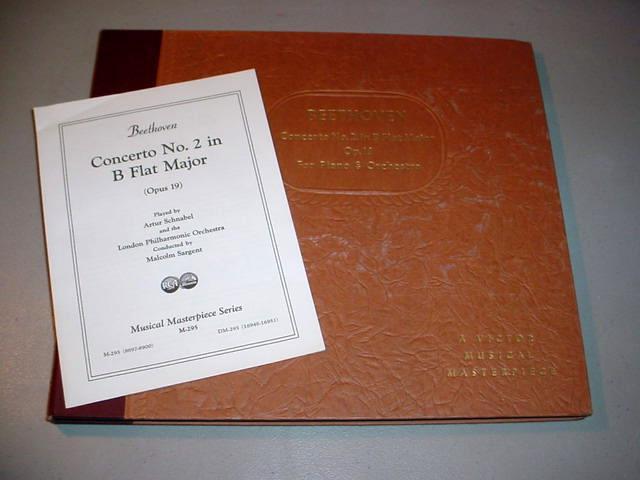 "ARTUR SCHNABEL (4) 12"" 78 RPM SET Beethoven Concerto No.2 in B Flat Major"